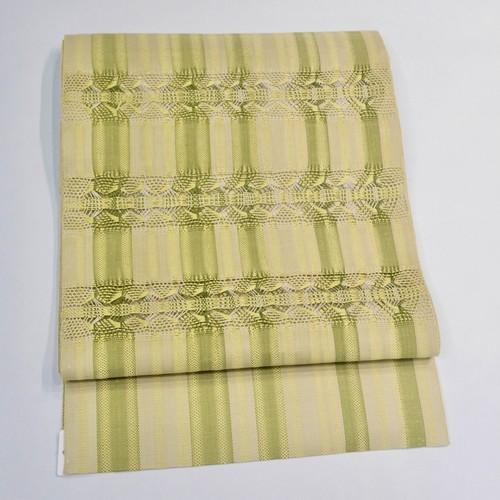 単衣・夏*イエローグリーン透かし織り縞柄 リサイクル八寸名古屋帯 0325