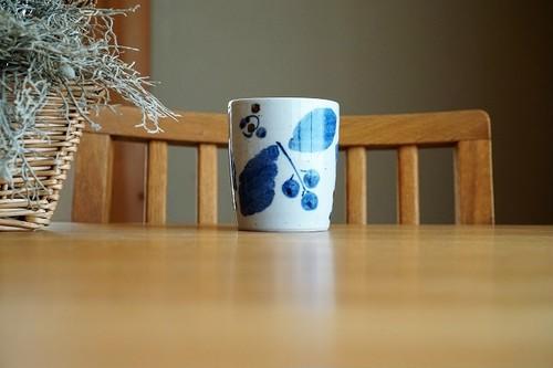 砥部焼/フリーカップ/ブルー木の葉/森陶房