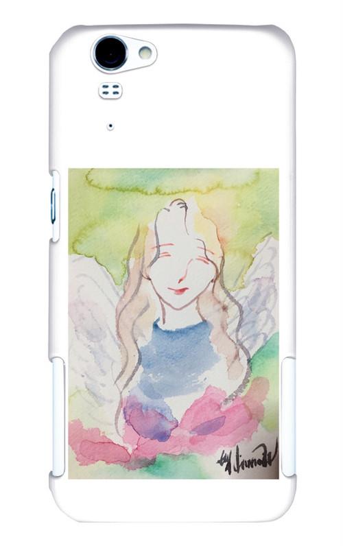 AQUOS PHONE ZETA SH-01F用 スマホカバーケース*微笑む天使*水彩画