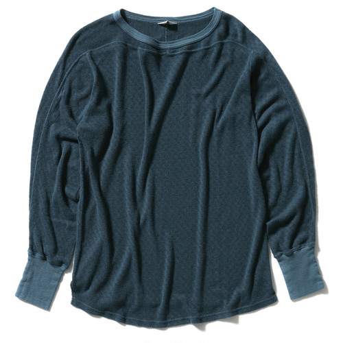 【FILL THE BILL】《UNISEX》MEUTHUSHI JACQUARD LONG SLEEVE TEE - BLUE