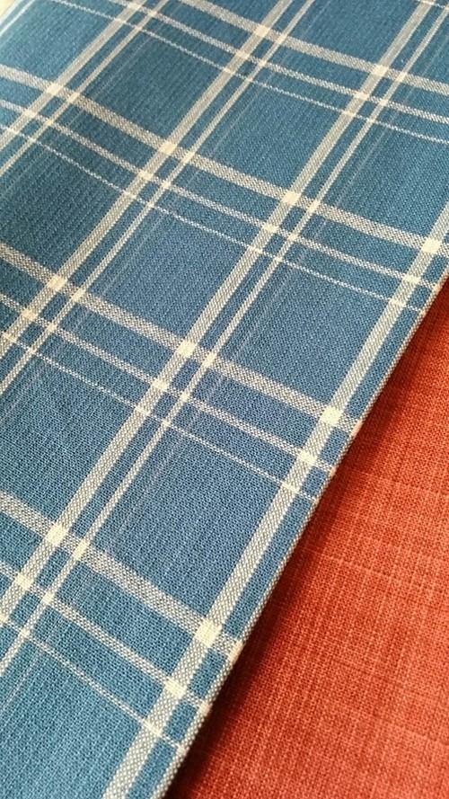 木綿の半幅帯 青色チェック柄