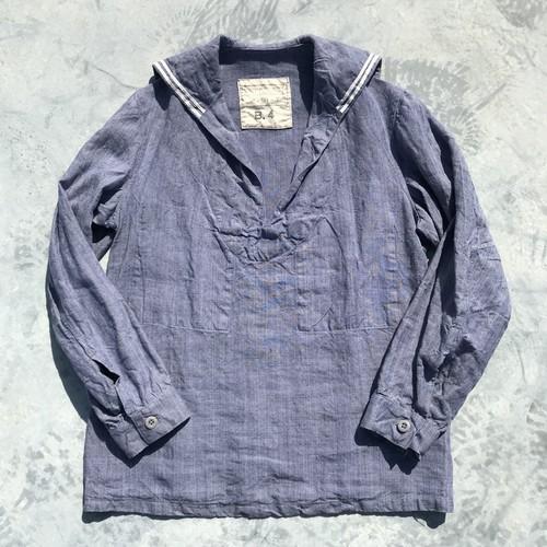 50's フランス海軍 ラミーセーラーシャツ B4 リネン ユーロミリタリー 芋麻 ライトブルー ヴィンテージ 希少