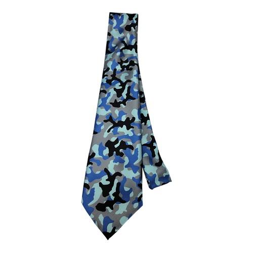 Ne-1a インクジェットプリント迷彩柄ネクタイ ブルー系
