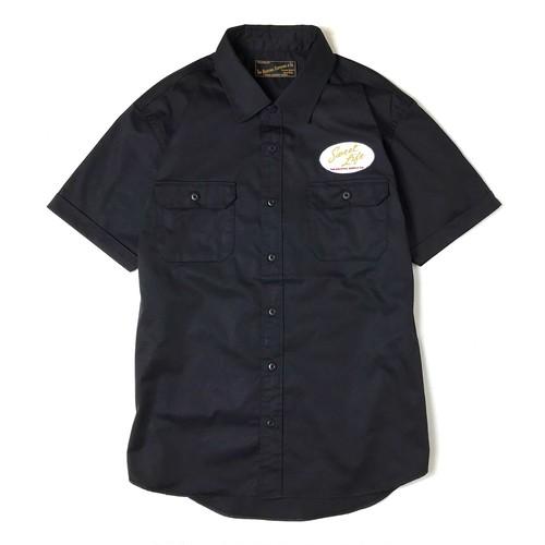 """受注生産!DUCKTAIL CLOTHING S/S WORK SHIRT """"Sweet Life"""" 半袖 ワークシャツ ブラック 黒"""
