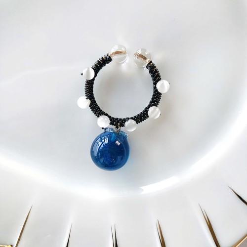 candy cuff【GD+黒糸】ocean blue×キャッツアイ
