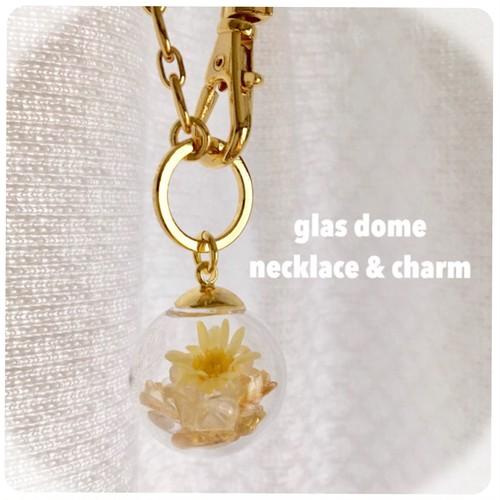 782【石が選べる♡ガラスドームネックレス&チャーム】