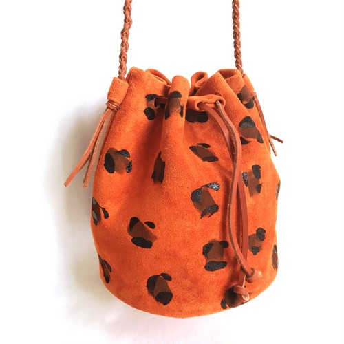 【SALE】Leopard Drawstring Bag 《orange》