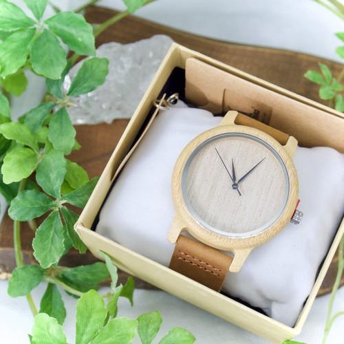 【天然木製 腕時計】ウッド・ハンドメイドウォッチ (竹 bamboo)(ノームコア)