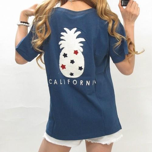 パイナップル×星柄 サガラ刺繍 Californiaロゴ刺繍 Tシャツ
