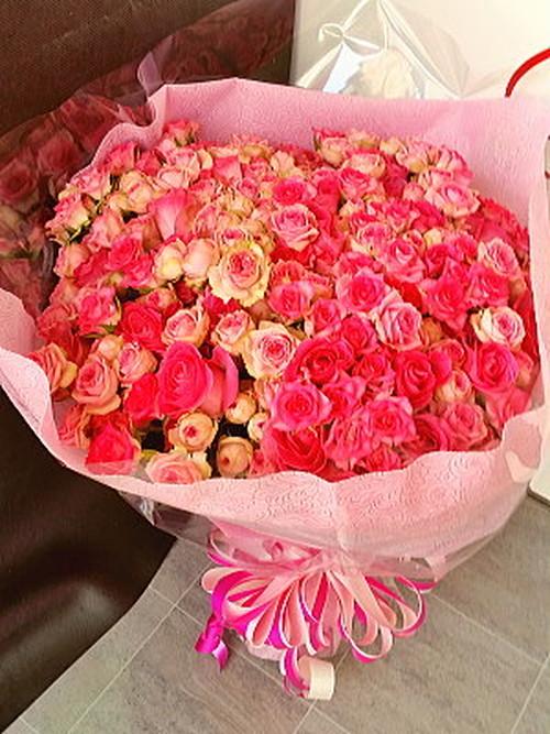 bu015 花束 ピンクバラ
