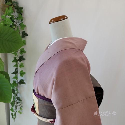 正絹紬 浅紫のぼかし 袷 作家物