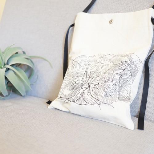 DecoraMeow|猫刺繍キャンバストートバッグ|Bo-