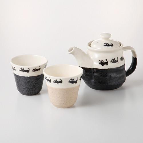 猫茶器セット(美濃焼黒ネコ茶器揃)