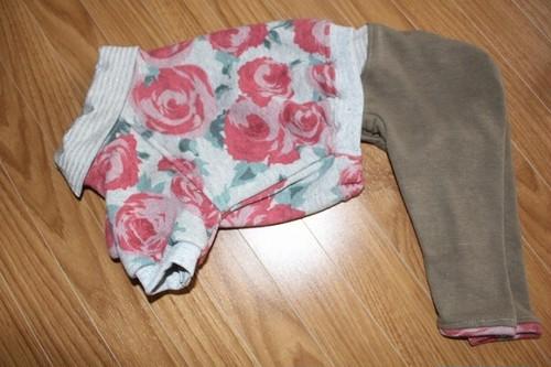 モデル試着見本品 薔薇柄重ね着風ロンパースMSサイズ