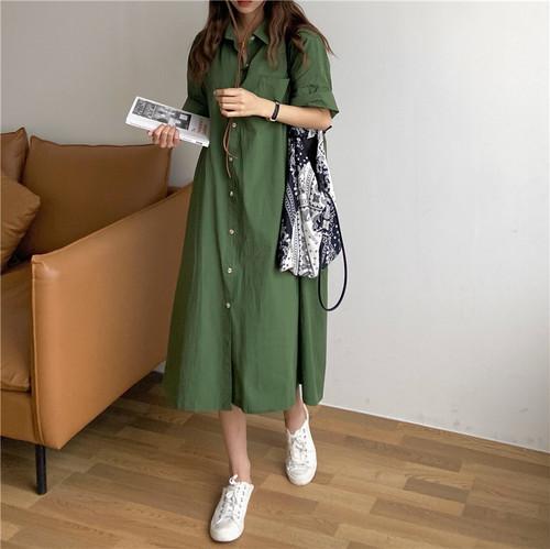 【dress】カジュアルシャツワンピースゆったりシンプルデザイン2色