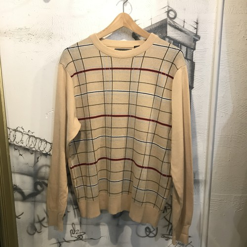 cotton check design knit