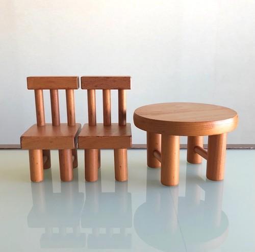 ごっこのイスと丸テーブル (中古リペア良品) 国産カツラ材