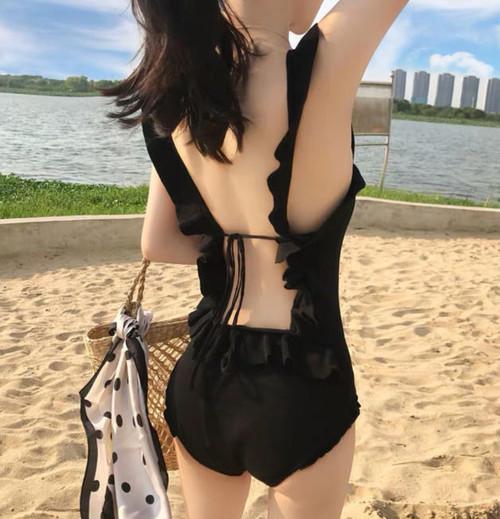 ワンピース水着 レディース モノキニ フリル リボン バックシャン 着痩せ 体型カバー ガーリー セクシー 韓国 オルチャン ファッション