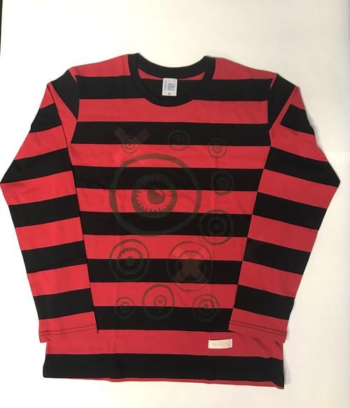 170330ボーダーロングTシャツ(ブラック×レッドM)