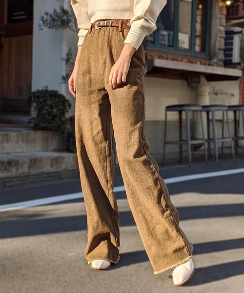 High waist long flare slender pants