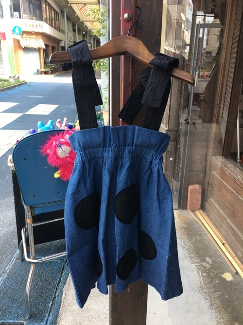 BEAR MT STRAP UNEVEN DOTS DENIM SKIRT 送料無料