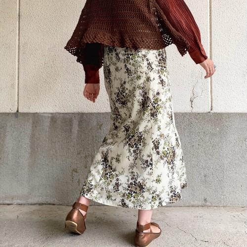 (LOOK) flower print long tight skirt