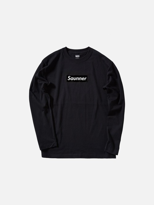Saunner Box Logo Long Sleeve Tee - Black/Black Logo
