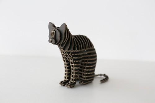 FLATS立体型パズル 座り猫/cat110A 黒
