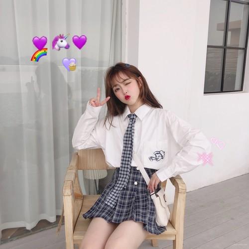 【セットアップ】春秋リボン刺繍シャツ+ショート丈チェック柄プリーツスカート二点セット