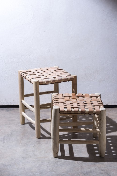 LEATHER MESH STOOL small