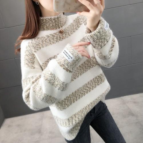 【トップス】愛らしいファッション切り替えプルオーバーニットセーター24224352