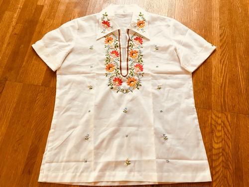 ビンテージ 刺繍 プルオーバー シャツ チュニック / 70s OLD ヒッピー ボヘミアン ヨーロッパ メキシコ