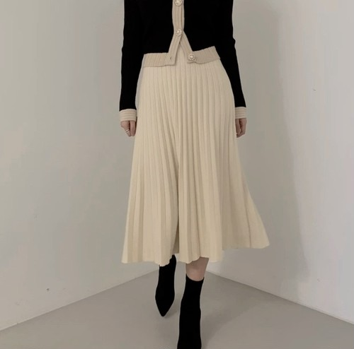 flare knit skirt 2color