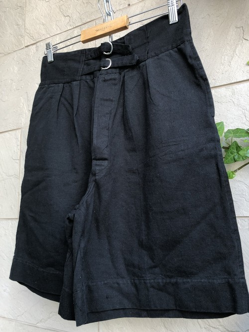 1960s British double strap cotton shorts overdyed black color