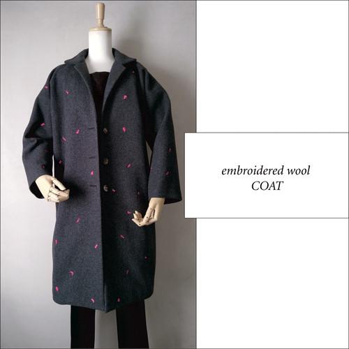 オリジナル刺繍 ウールコート