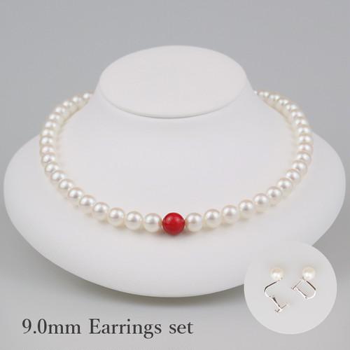 丹頂90E-set(Tanchou)【Akoya8.5-9.0mm/Coral10mm】Necklace & Earrings set