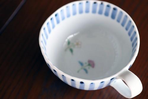 藍水 十草三つ花カフェボール うつわ藍水(波佐見焼)