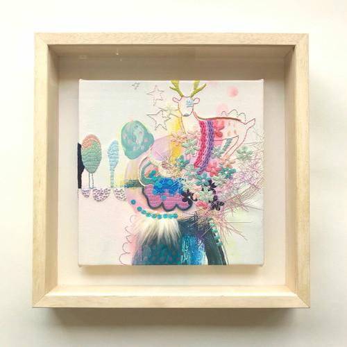 刺繍入り絵画「ぼくの中にはぼくに必要なすべてが入っていたんだって、気づいたんだ。」(額付)