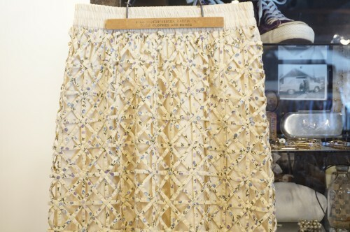 70's ivory maxi Skirt w/ floral mesh