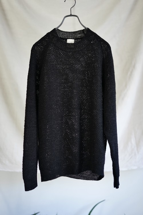 JAN JAN VAN ESSCHE - LOOSE FIT KNITTED CREW NECK SWEATER WITH DIAGONAL PATTERN (BLACK)