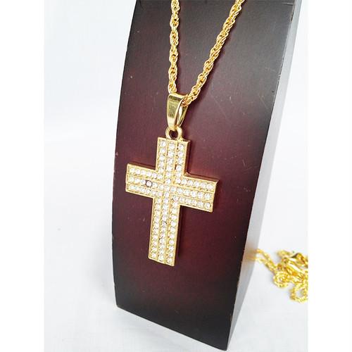 クロス 十字架 ジルコニア チェーン ネックレス ロザリオ ラインストーン ブリンブリン ゴールド 金 1766