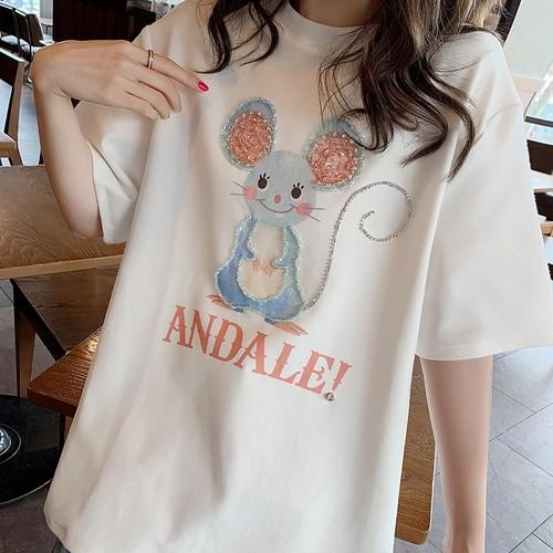 【トップス】韓国風新作ゆったりアルファベット可愛いネズミTシャツ