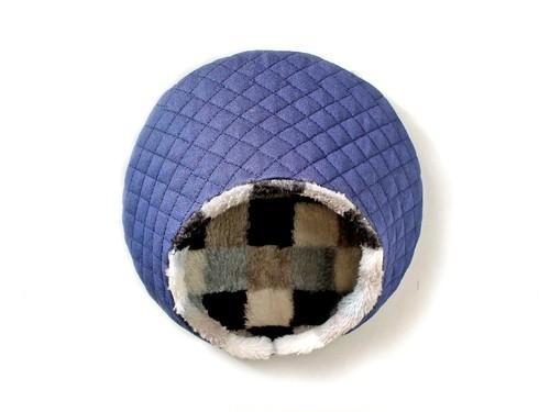 ハリちゃんのおやすみベッド(冬用) デニム×モノクロチェック / Hedgehog bed for winter