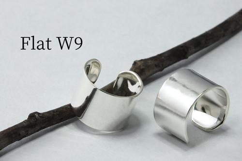 C-Flat W9 - シルバーのイヤーカフ幅9mm <鏡面/ツヤ消し 選択可>
