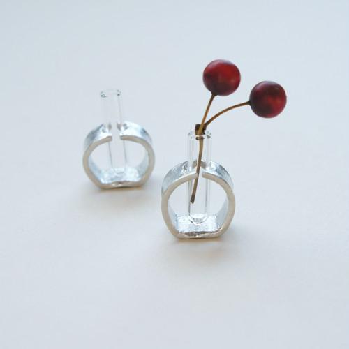 小さな試験管と錫の花器tnv1【期間限定レターパックライト送料無料】