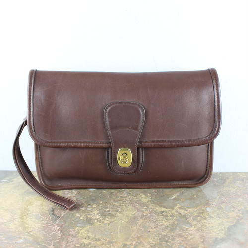 .OLD COACH TURN LOCK LEATHER CLUTCH BAG MADE IN USA/オールドコーチターンロックレザークラッチバッグ 2000000050379