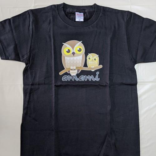 リュウキュウコノハズクTシャツ(ブラック)