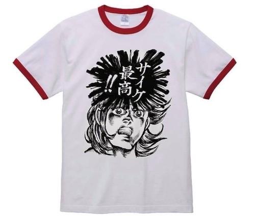 70s マンガ風 リンガーTシャツ 「サイケ 最高‼︎」カラー:レッド×ホワイト