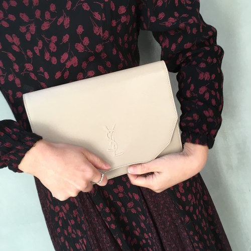 Yves Saint-Laurent beige clutch bag
