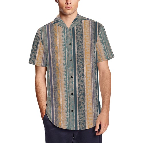 家紋ストライプ藍 和柄アロハシャツ